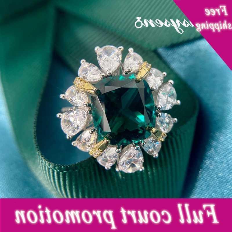 Pansysen En Kaliteli Güzel Takı 10x11mm Zümrüt Pırlanta Yüzük Saf 925 Ayar Gümüş Yıldönümü Parti Kadınlar için Zehir Yüzükler
