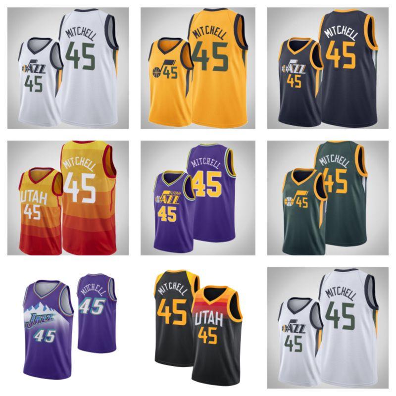 2021-2022 Hohe hochwertige genähte Basketball-Jersey 45 Donovan Mitchell