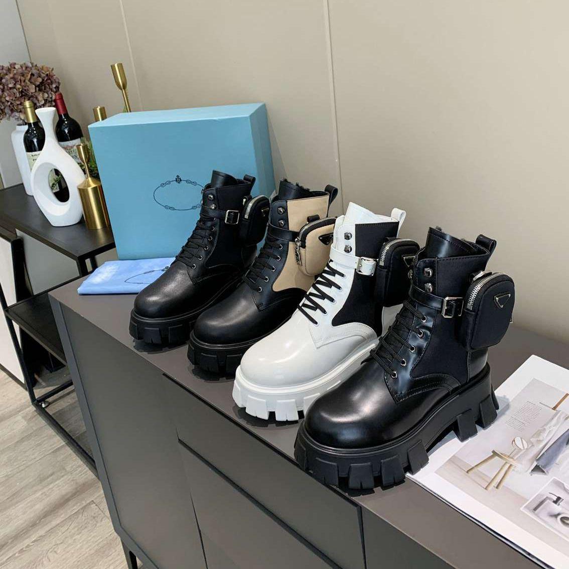 Мужские женщины Rois Boots Designers Ankle Martin Boot Кожаные нейлоновые съемные сумки Bootie Военные вдохновлены боевые ботинки Оригинальный размер коробки 35-45