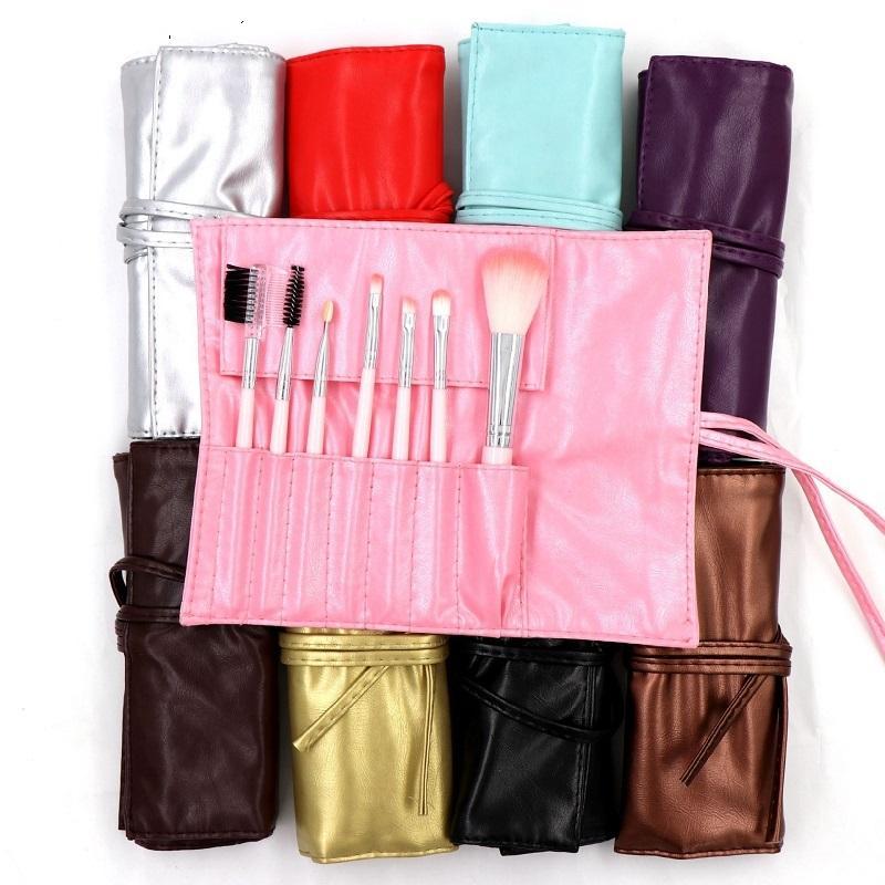 Dhl maquillage pinceaux 7pcs sertie de sac de pinceau poudre Kits de brosse à oeil face à oeil pinceau brosse coloré brosses brosses de fond de beauté beauté cosmétiques en stock
