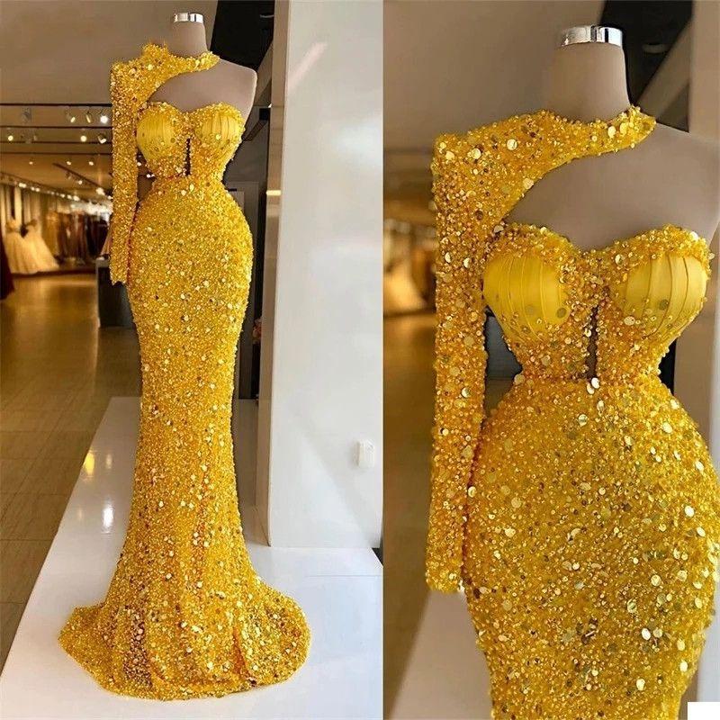 반짝이 노란색 숄더 비즈는 공식적인 긴 댄스 파티 드레스 2021 두바이 아랍어 가운 드 Soiree Party Evening Gowns