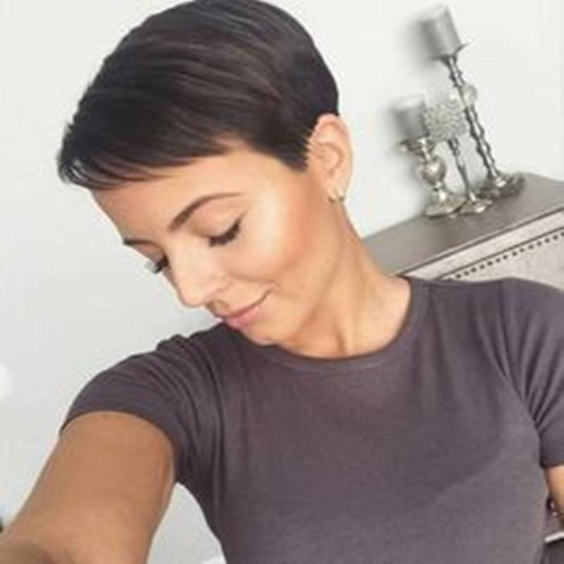 Short Straight Bob Pixie Cut Machine Made Non Lace Human Hair Wig With Bangs For Black Women