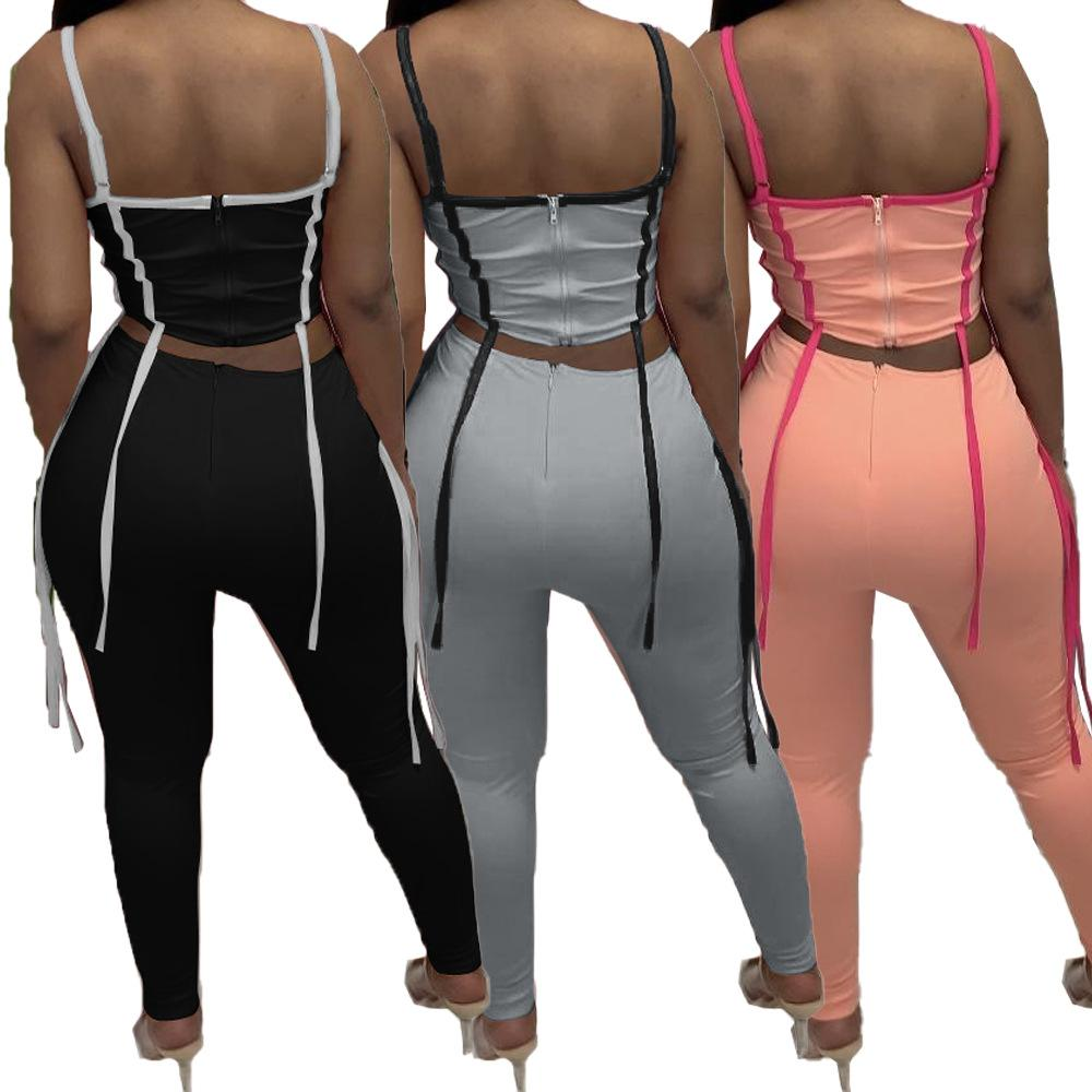 Borlas spled sweatsuits 2 peça calças roupas espaguete cinta listrado colheita superior lápis legging verão mulheres tracksuit streetwear
