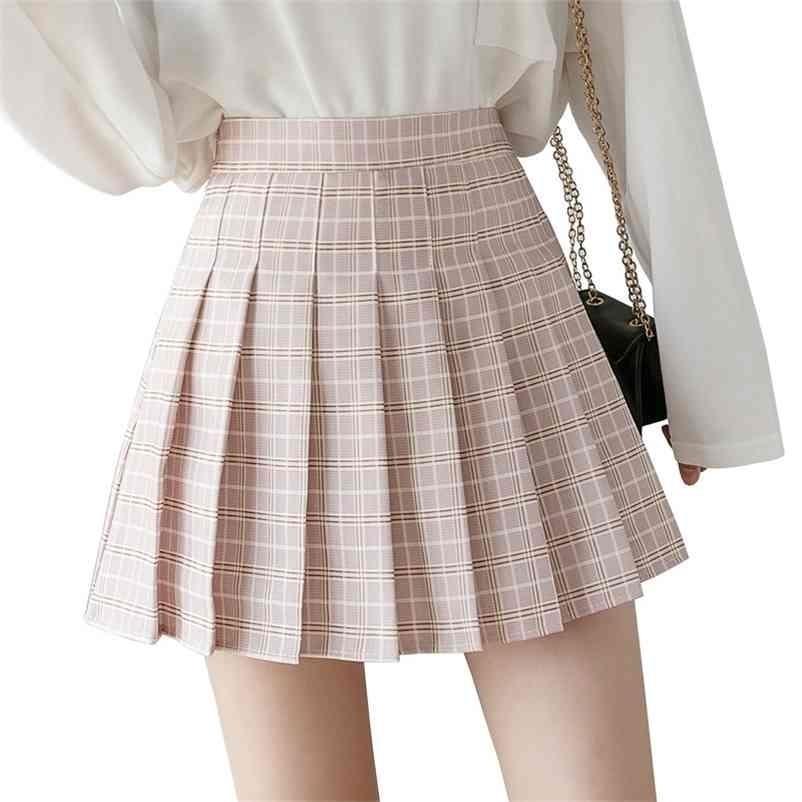 Harajuku Rosa Röcke Womens Sommer Hohe Taille Anime Röcke Frau Kawaii Student Kurze Weiß Plaid Black Falten Minirock 210324