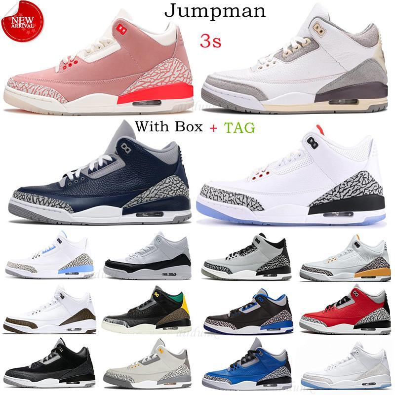 الرجال 3 أحذية كرة السلة jumpman 3S UNC أسود أبيض رجالي شظية نيكس مناديل الرجعية النار الأحمر الثالث الاسمنت المحكمة المدربين أحذية رياضية