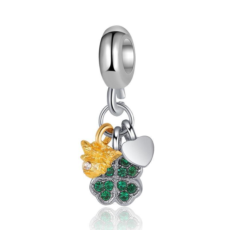 Fit Pandora Charm Bilezik Avrupa Gümüş Charms Boncuk Dört Bırakın Yonca Kristal Dangle Kolye Kadınlar için DIY Yılan Zincir Bileklik Kolye Takı