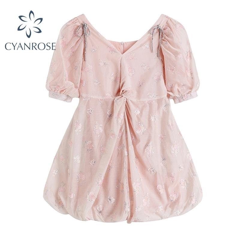 Summer Fairy Dress Delle Donne Donne Stile Francese Pink Pizzo Chiffon Sweet Party Night Giappone Kawaii Elegante femmina 210515