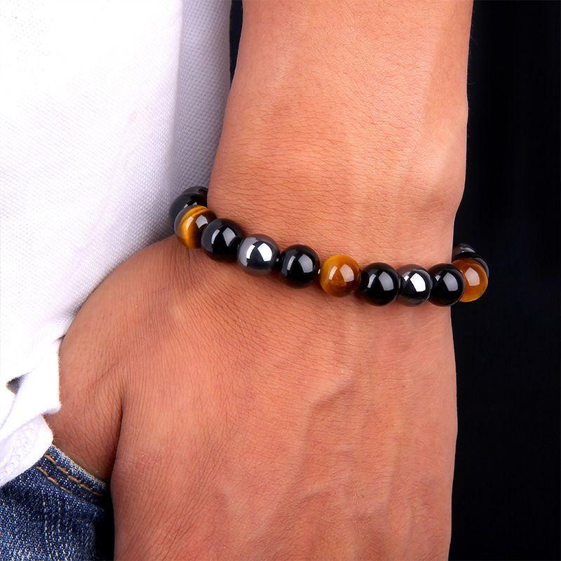 Natürlicher schwarzer Onyx mit natürlichem Stein Hämatitstein Tigerauge Perlen Strang Wrap Buddha ArmbänderBangles Schmuck Zubehör 97 L2
