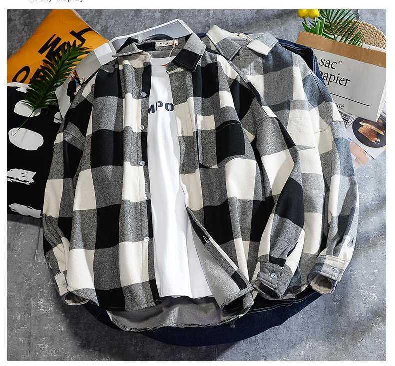 Laamei 일본 스타일 망 셔츠 격자 무늬 남성용 셔츠 의류 체크 무늬 블라우스 S-3XL 가을 도착 남성 캐주얼