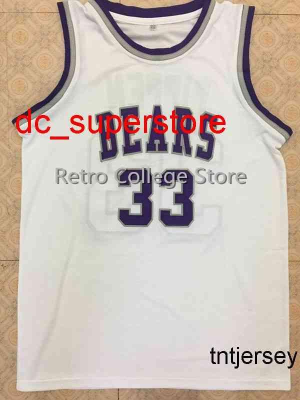 100% Costura # 33 Scottie Pippen Bears Branco Jersey de Basquete Personalizado Qualquer Número Nome Jerseys Mens Mulheres Juventude XS-6XL
