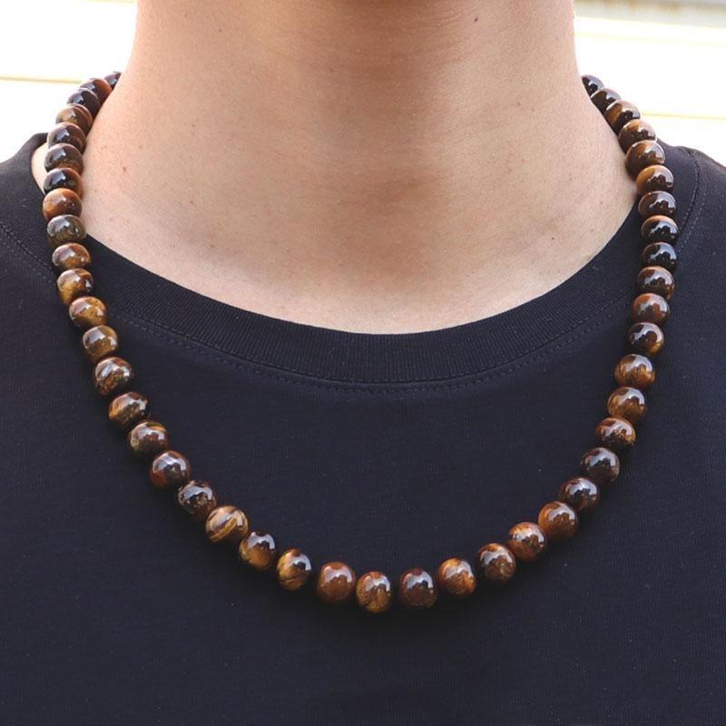 Minimalist Tiger Eye Necklace Men Women 10mm Big Beads 22 Inches Long Hiphop Rock Black Onyx Obsidian Chokers
