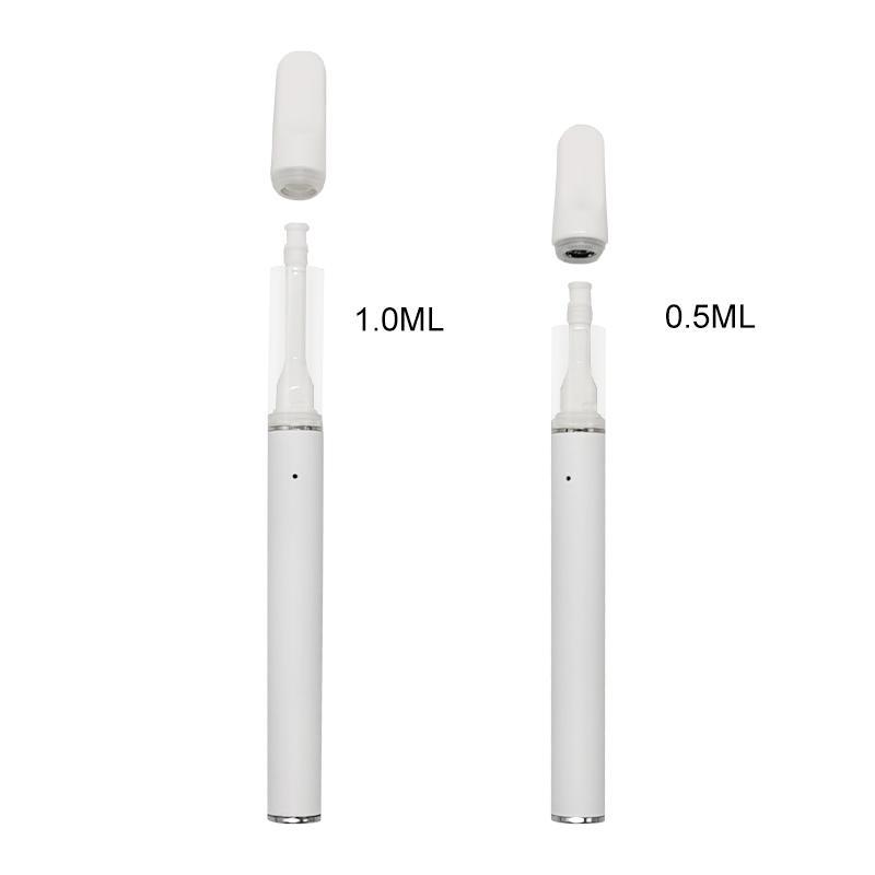 Полные керамические одноразовые ручки Vape Electronic Cigarettes 290mah аккумуляторная батарея 0.5 мл 1,0 мл картриджей пустой распылитель, защелкивающийся на ручке испарения наконечника