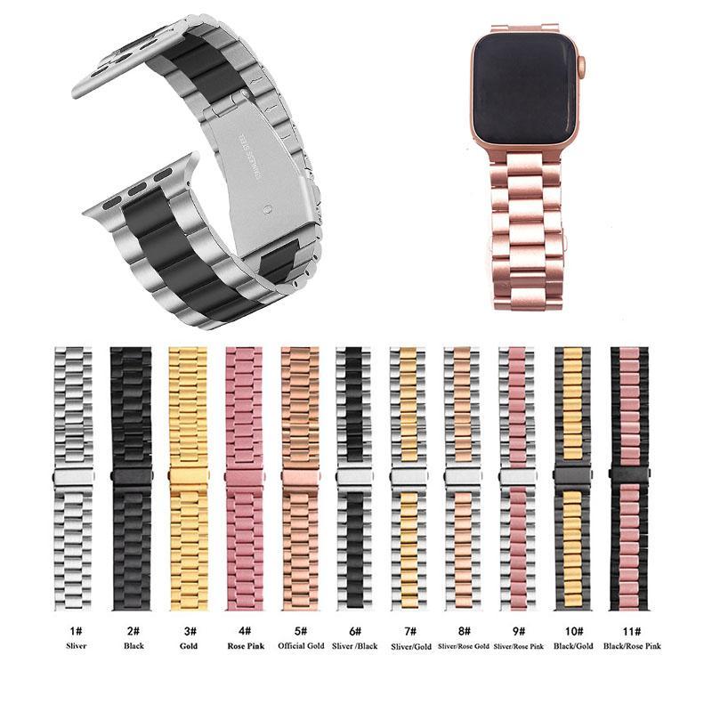 الفولاذ المقاوم للصدأ الفرقة متوافق مع سلسلة أبل ووتش حزام 1 2 3 4 5 الصلبة المعادن رابط 38 ملليمتر 42 ملليمتر ل iwatch الاسوره