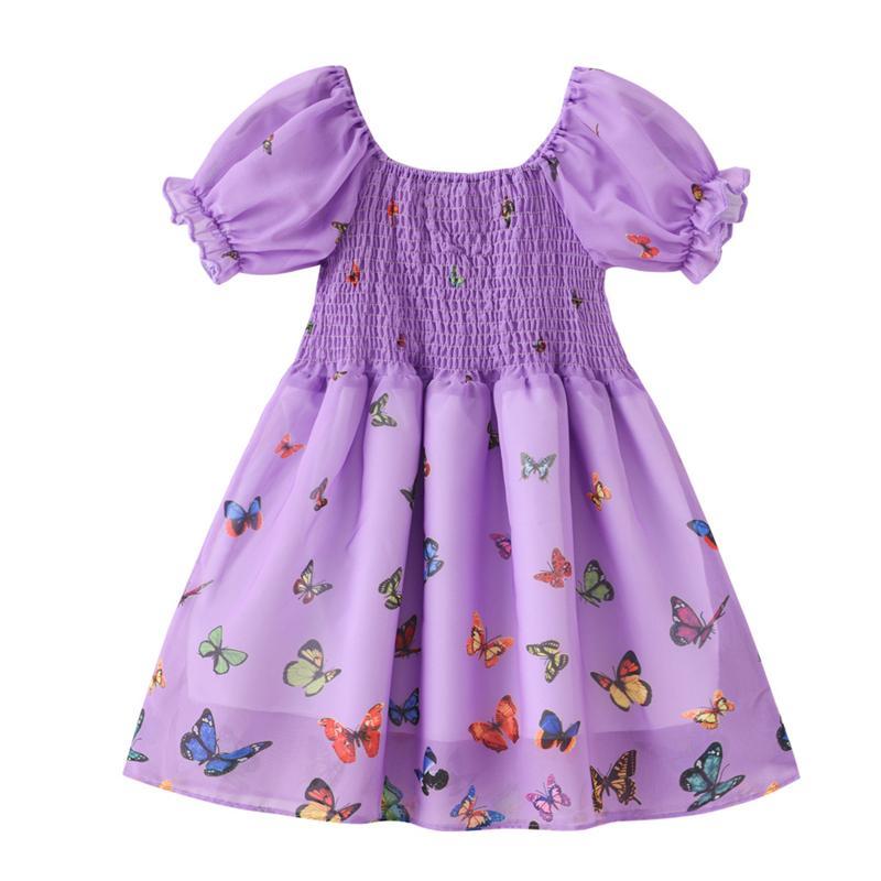 유아 소녀 드레스 나비 공주님 드레스 1-6 년에 대 한 슈퍼 요정 공기 거품 슬리브 어린이 아기 소녀 여름 드레스