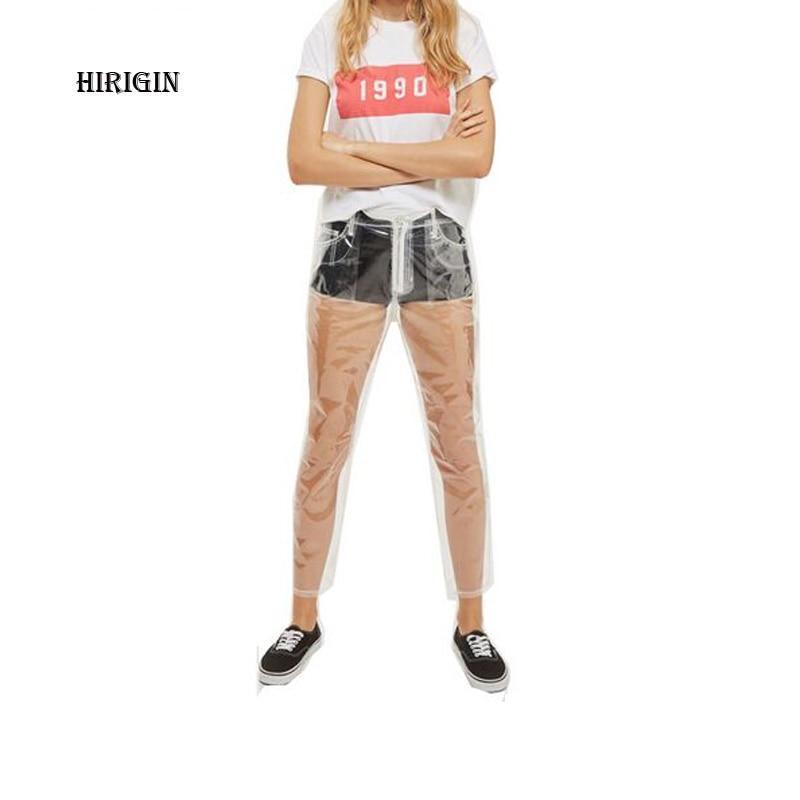Rare Transparent Jeans Waterproof PVC Plastic Trousers Women's