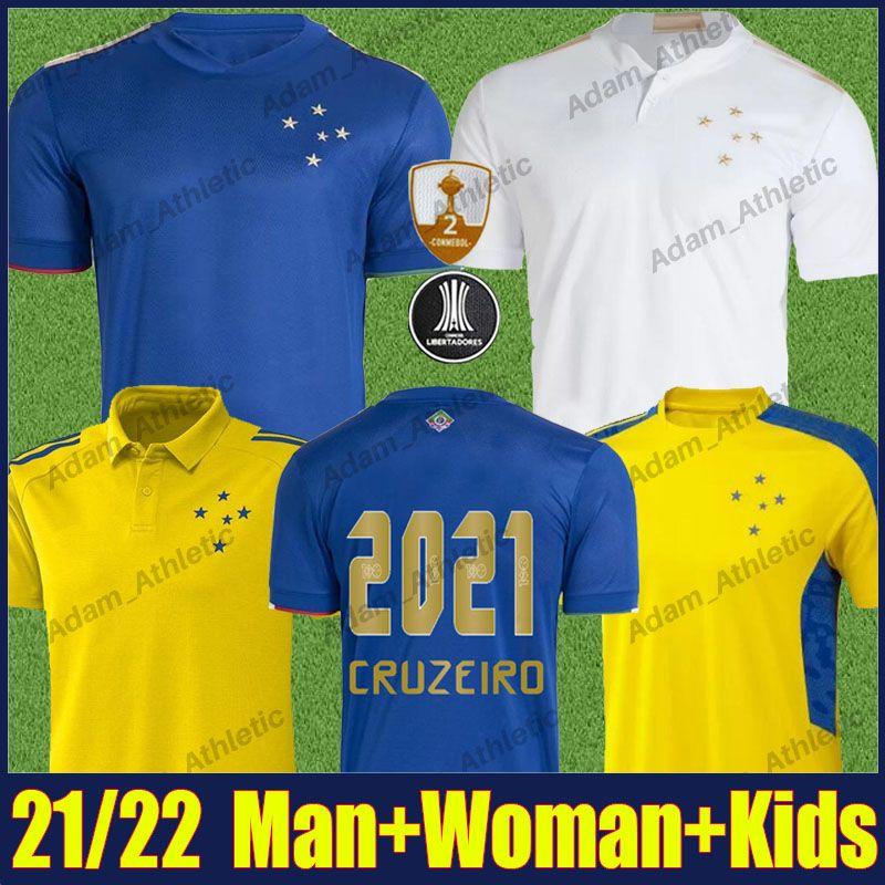 Camisa Cruzeiro Futbol Formaları 100. Yıldönümü Gömlek Adam Kadın Çocuklar 2021/22 Pottker Dede R.Sobis Futbol Forması Camiseta de Raposas 100 Anos Polo Eğitim Gömlek