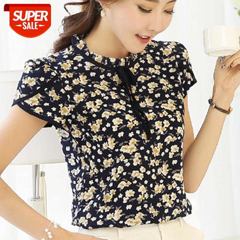 2019 Verão Floral Cópia Chiffon Blusa Ruffled Collar Bow Pescoço Camisa Pétala De Manga Curta Tops Plus Size Blusas Femininas # 157b