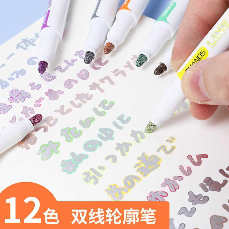 Double Shanzhi Line Outline Pen Girl's Candy Color Marker Orcent Hand Account Set