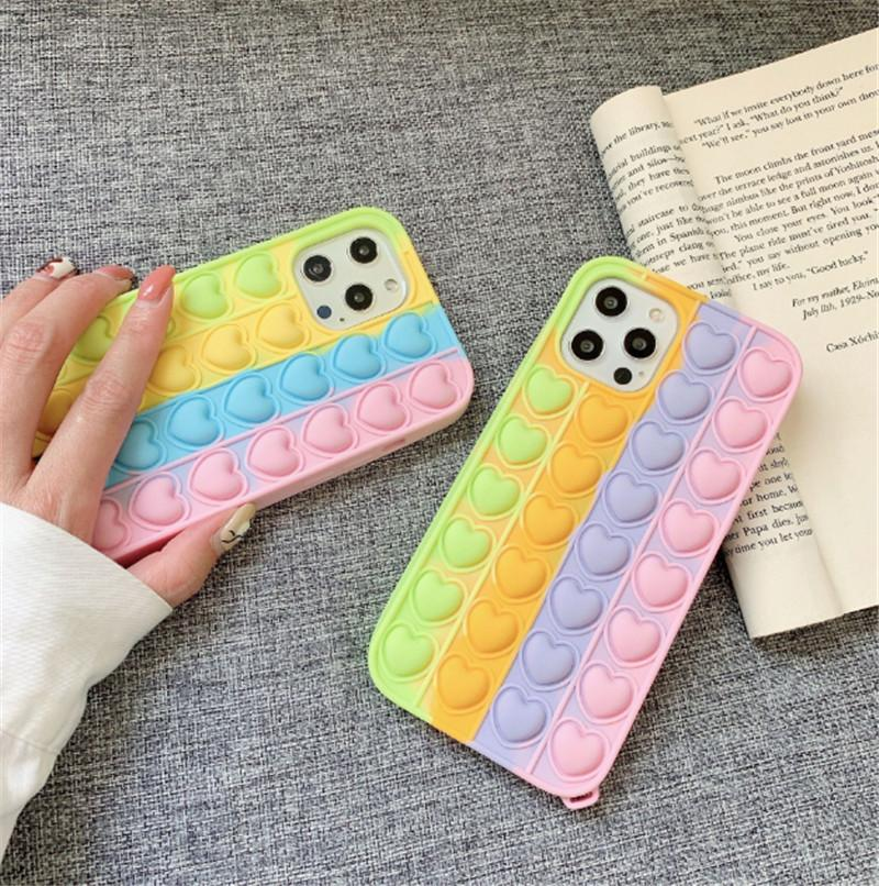 Bubble Silicone Phone Cases Reliver Stress Pop Fidget Toys Push It Fall Cover For iPhone 12 Pro Max 7 8 XS XR Case