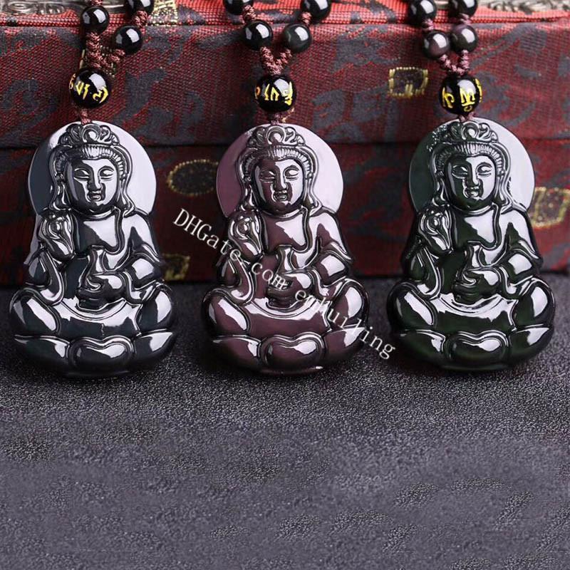 Naturale arcobaleno occhio ossidiano Guanyin Lucky Amulet Ciondolo Collana Kwan Yin Dea della Misericordia Scolta Talismo di cristallo fatto a mano con estensione catena per perline per uomini o donne