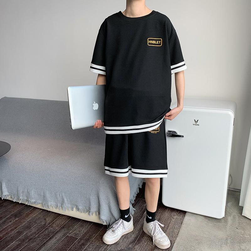 Men's sportswear Korean fashion tracksuit summer casual top handsome loose short sleeve T-shirt shorts two piece set