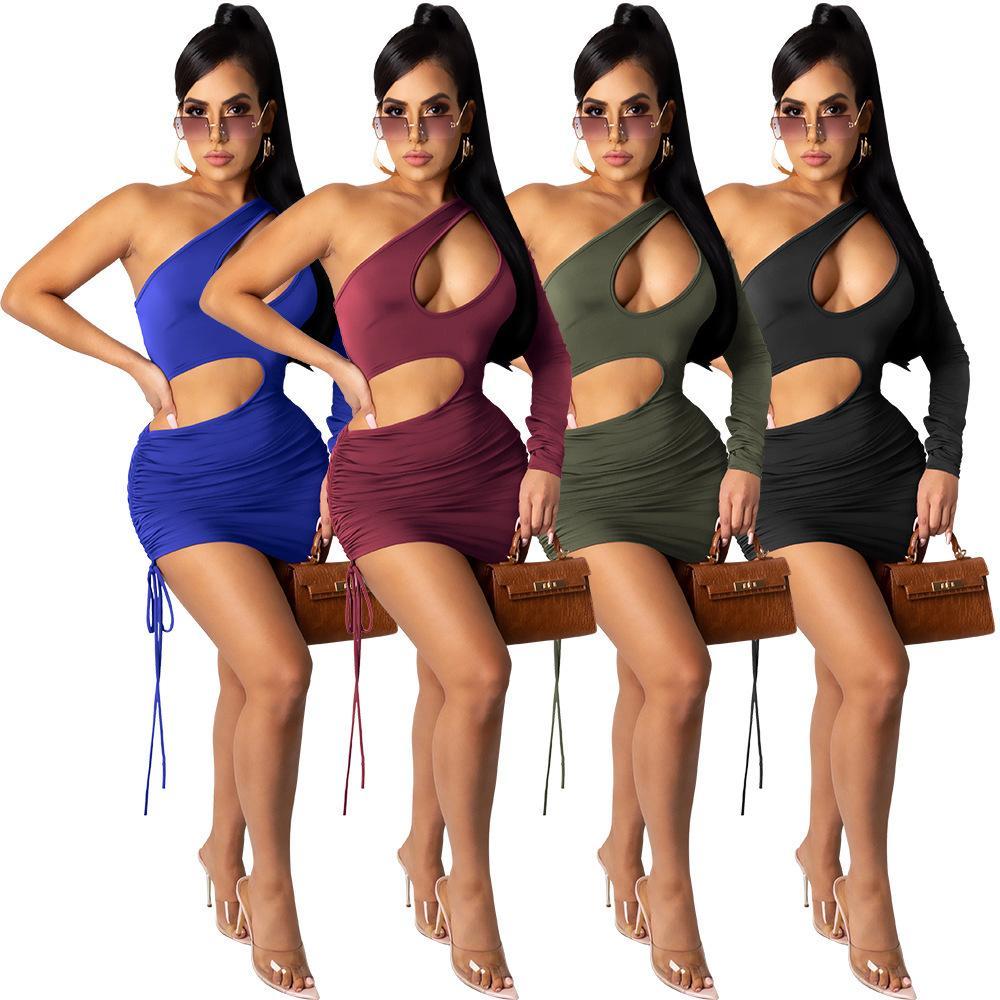 Sexy manche Schulter Frauen Kleid Aushöhlen Kordelzug Party Nacht Clubwear Sommerkleider Vestidos Feste Farbe 210506