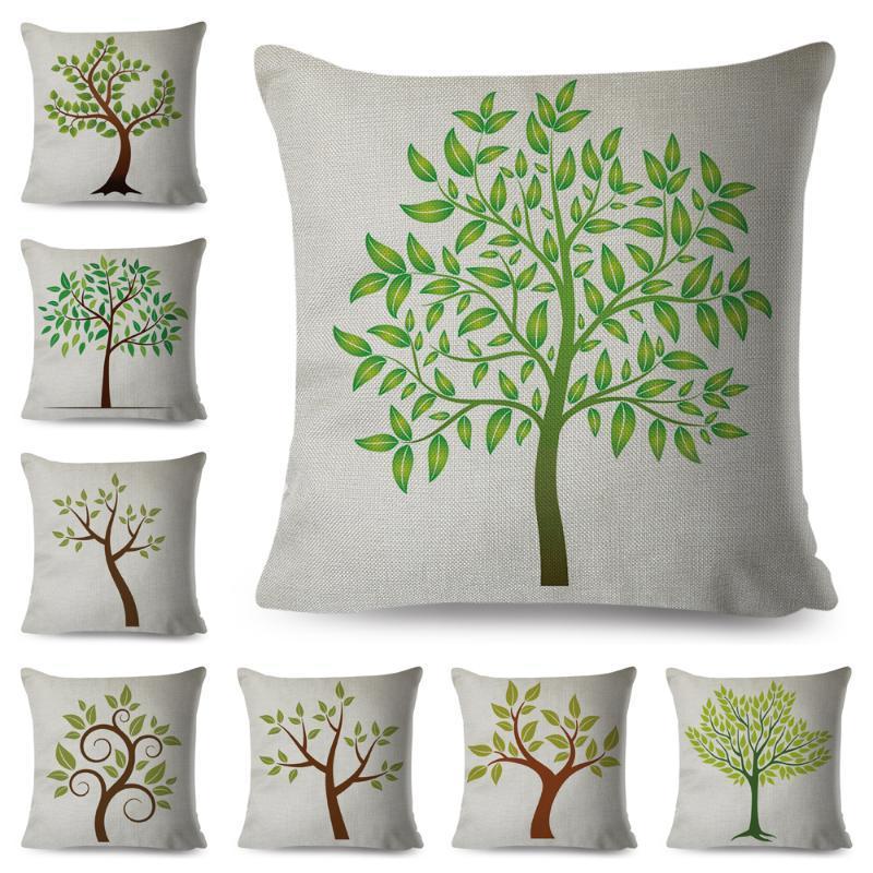 Nordic Style Green Leaf Kissenbezug Leinen Dekor Cartoon Tree Print Kissenbezug Für Sofa Home Auto 45x45cm Kissenbezug Kissen / dekorativ