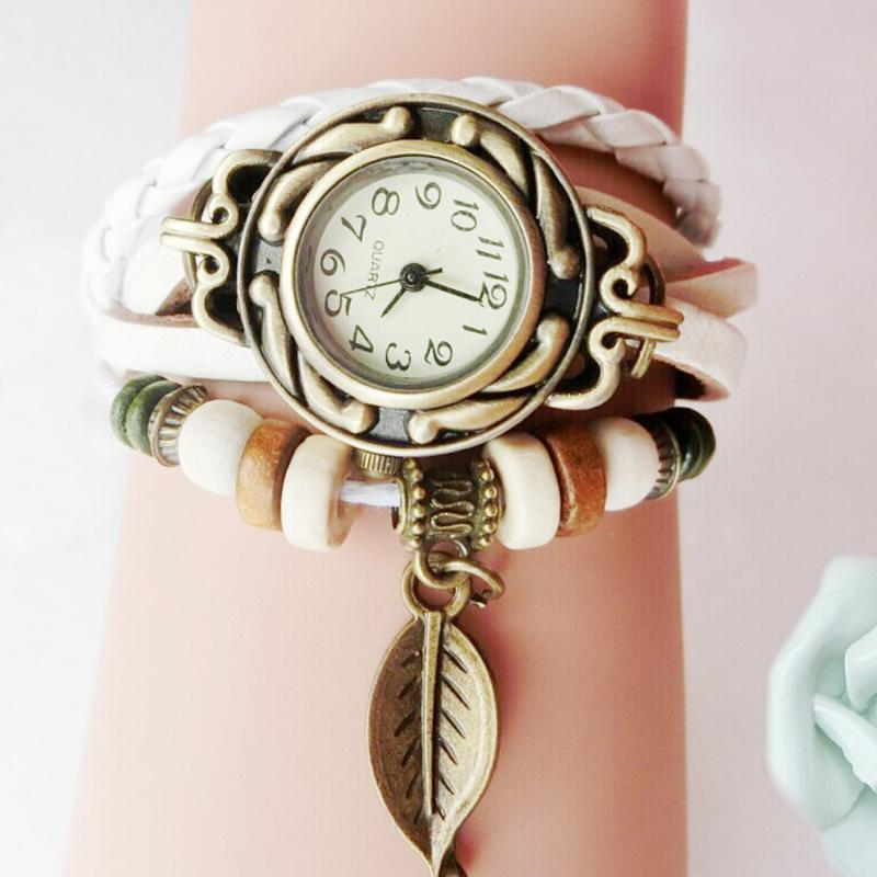 Wristwatches Women Girl Vintage Watches Bracelet Leaf Pendant Leather Lady Womans Wrist Watch Gift #G955