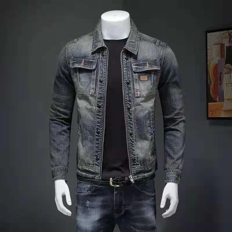 Güç Erkekler İlkbahar ve Sonbahar Ince Denim Gömlek erkek Uzun Kollu Kişilik Eğilim Dikiş Retro İnce Rahat Ceket