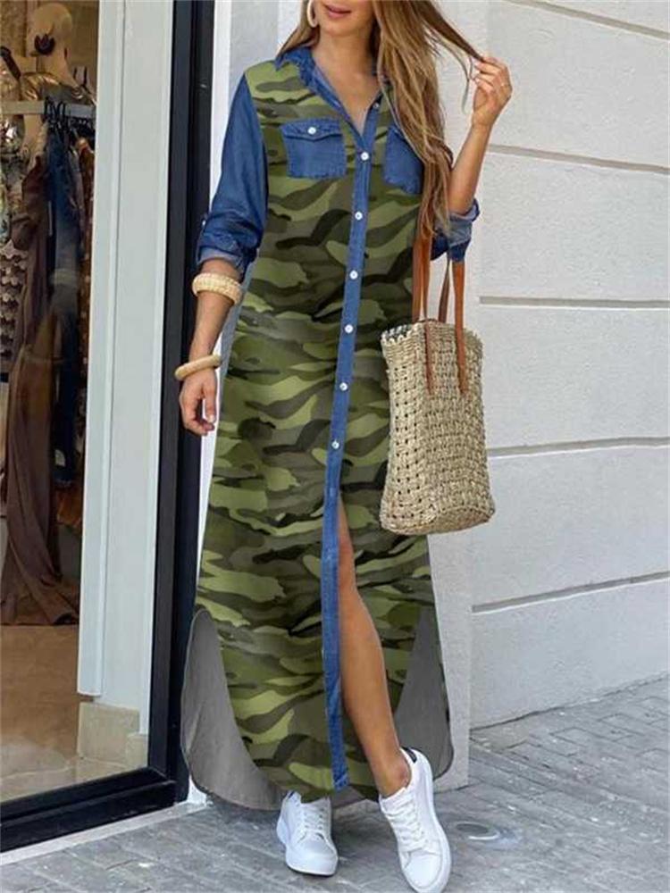 Kadınlar Zarif Baskı Yarık Gömlek Elbise Yaz Yaka Boyun Maxi Boho Rahat Gevşek Düğme Uzun Kollu Beach Vestidos
