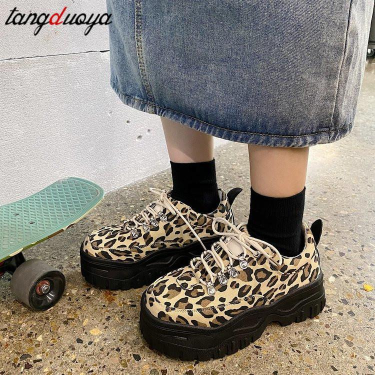 Boots Height Increasing Ankle For Women Winter Shoes Warm Chunky Harajuku Platform Sneakers Leopard