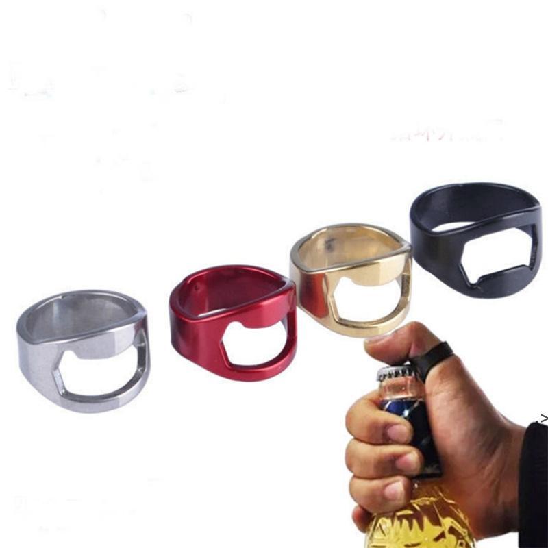 Abridor de botellas de anillo de dedo portátil Abrador de cerveza de cerveza de acero inoxidable colorido Favores de botella HWD9476