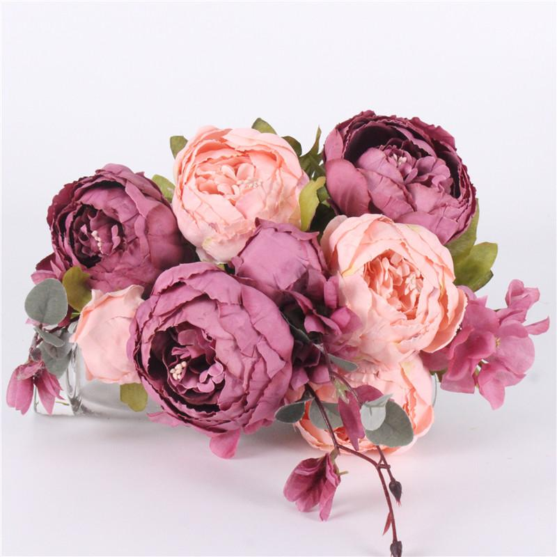 Bouquet Artificial Flowers silk flower European Fall Vivid rose Peony Fake Leaf Wedding Home Party Decoration