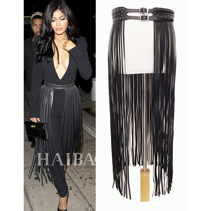 Fantastic Long franja cinto de couro preto cintos de desenhista para mulheres longas borlas pin fivela espartilho cinturão no tendy! BG-006 0210