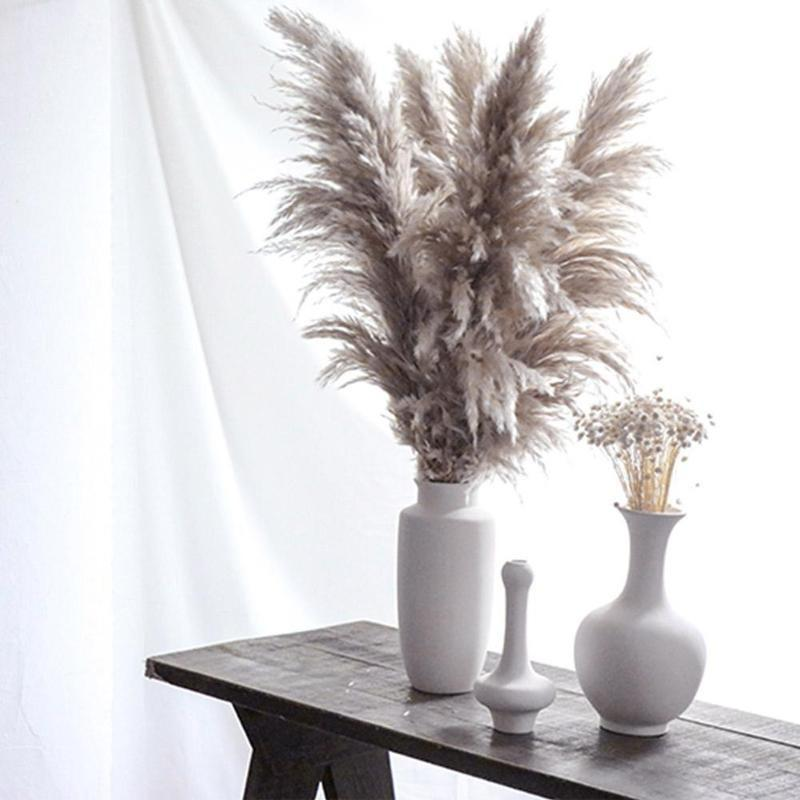 الطبيعية المجففة زهرة بامب العشب ريد تزيين المنزل رمادي كبير الزفاف تخطيط ركن الشاشة عرض نافذة الزخرفية الزهور أكاليلا