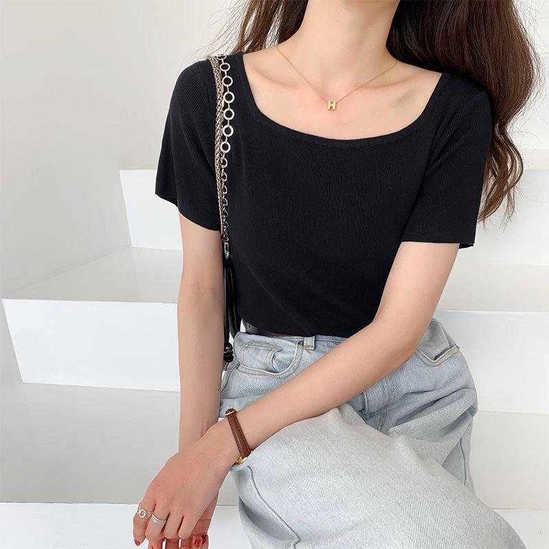 2021 Novo Collar Quadrado French Ice Silk Top Summer Summer Sleeve Manga Clavícula Cintura Curta T-SHICTXF0K
