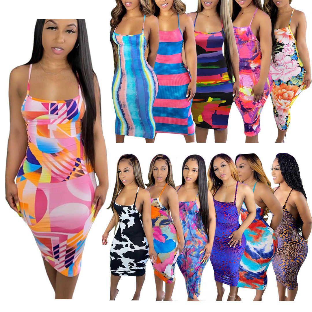 Frauen Casual Kleider Frühling und Sommer Mode Sleeveless Sexy Gedruckt Große Maxikleid Kleidung Damen Die neue Eintragung