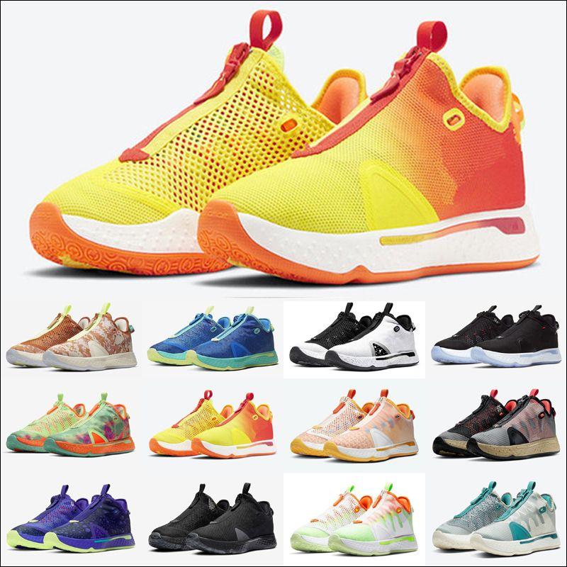 Gatorade Paul George PG 4 Erkek Açık Ayakkabı IV PCG Üçlü Siyah ABD Bred Oreo Ekose Turuncu GX PG4 Eğitmenler Erkekler Spor Sneakers