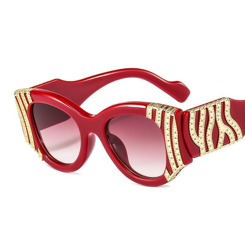 패션 고양이 눈 선글라스 여성 럭셔리 금속 장식 빈티지 안경 남자 태양 안경 UV400