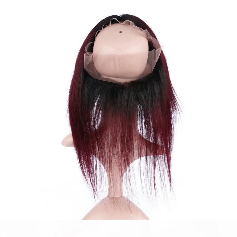 스트레이트 말레이시아 Ombre Burgundy 인간의 머리카락 360 레이스 정면 # 1B 99J 와인 레드 Ombre 360 레이스 정면 폐쇄 3Blesles