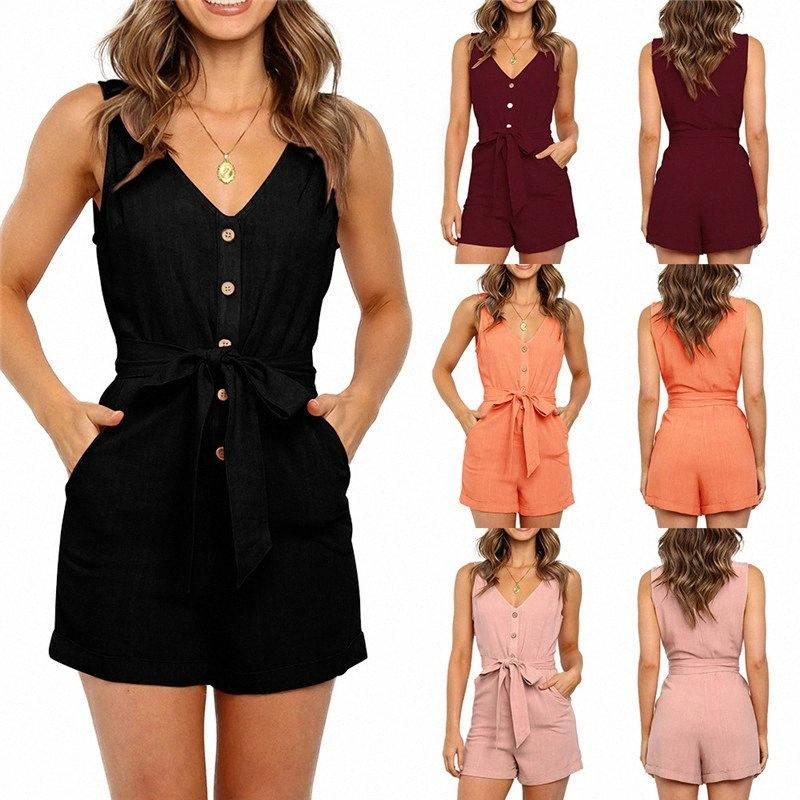 Women Solid Slim Playsuits Sexy V Neck Sleeveless Button Sashes Pocket Cotton Playsuit Femme Rompers Pink Black Short Jumpsuit R7gb#