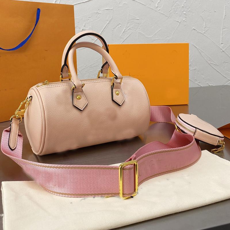 Nano Pillow Bag Women Speedy Handbag Purse Fashion Letter Crossbody Shoulder Bags Genuine Leather Classic Handbags Round Wallet 2pcs Set Adjutable Nylon Strap