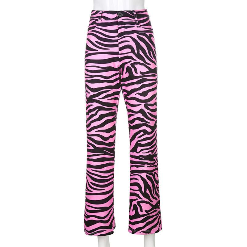 Women High Waisted Flare Pants Casual Animal Zebra Printed Straight Long Trousers Ladies Fashion Harajuku Joggers Women's & Capris