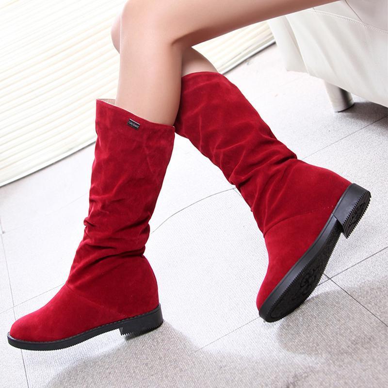 가을 겨울 여성의 부츠 높이 높이 로우 힐 여성 패션 여성 신발 매트 무리 높은 양말