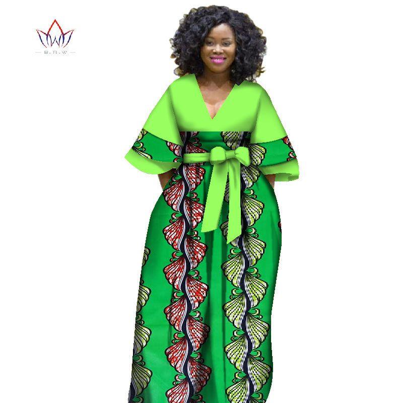 Wy2841Afrrican para las mujeres Bazin Riche Style Femme Ropa africana Ropa agraciada Dama Imprimir Cera Plus Tamaño Vestido de fiesta