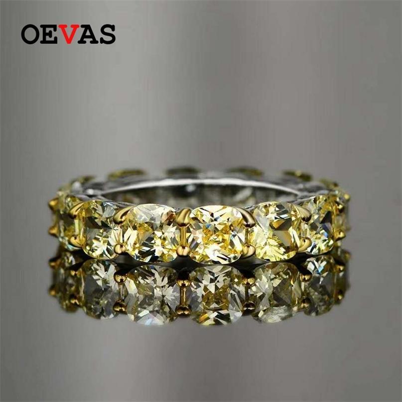 Ovas 100% 925 Sterling Silver Sparkling 1 fileira Completa 5 * 5mm altos anéis de dedo de diamante de carbono para mulheres festa de casamento fino jóias 210610