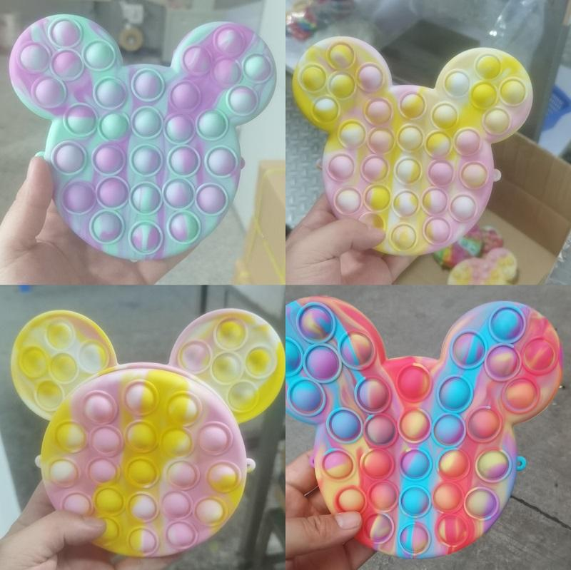 Fidget Toys Sensory Fashion Cute cartoon avatar coin purse Push Bubble Tie dye Anti Stress Educational Children Adults Decompression Toy Surprise wholesale xz