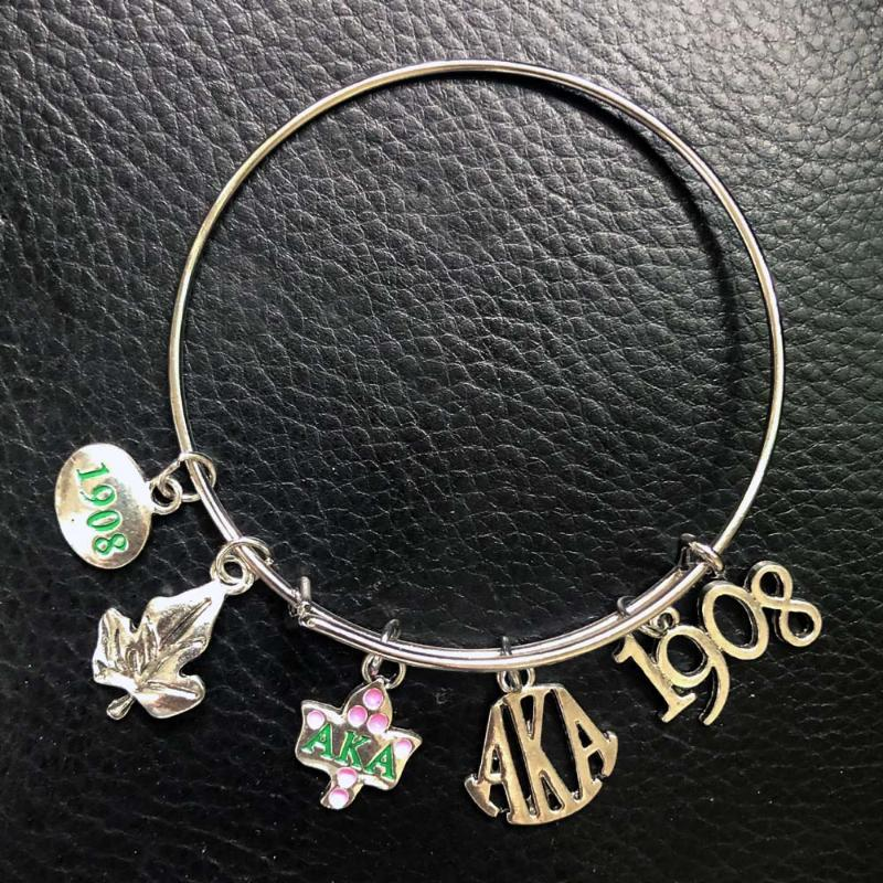Greco Sorority Pink e Green 1908 Ivy Charm Braccialetti Braccialetti Bracciali perline perline, fili
