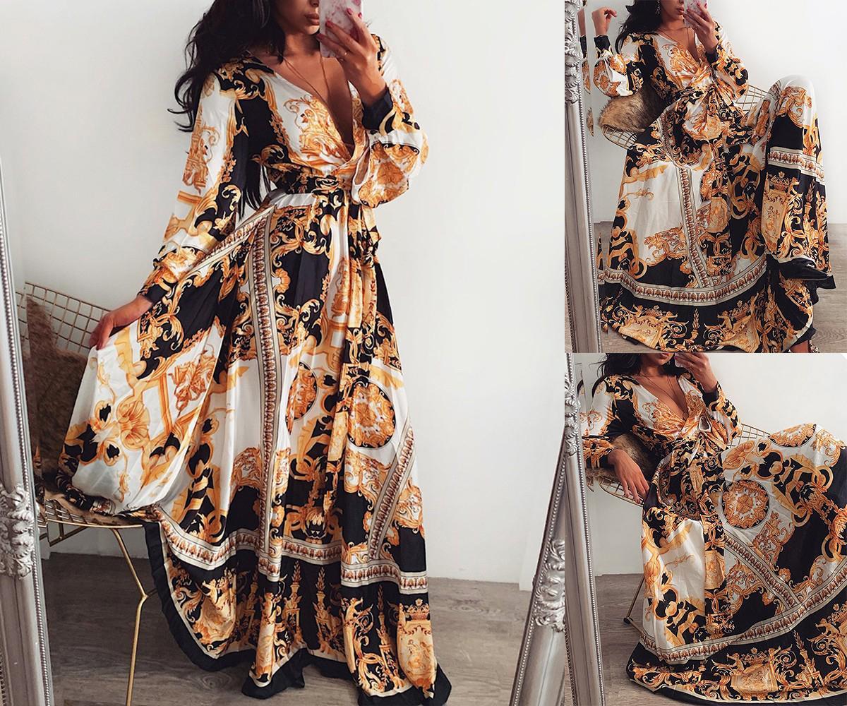 Tasarımcı Üst Marka Etek Pist Parti Elbiseler Kadınlar Uzun Kollu Derin V Yaka Çiçek Boho Vintage Maxi Elbise Tatil Plajı