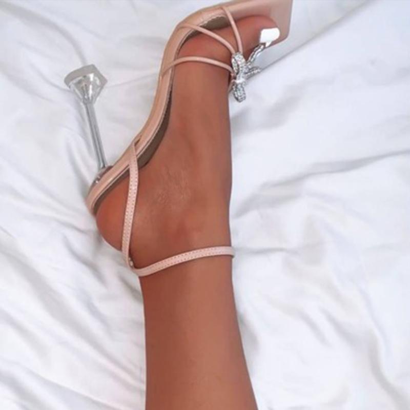 Novos Sandálias de Verão Mulheres Sexy Alto Salto de Cristal Festa de Cristal Sapatos Fivela Cinta Mulher Bombas de Moda Senhoras Vestido Casamento Sapato 2021